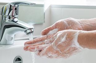 Someone washing hands